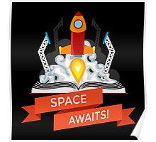 Rocket Launch Illustration Poster