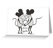 mouse, little mouses, mouses, cartoon, love, couple, mouse in love, vector, friends Greeting Card