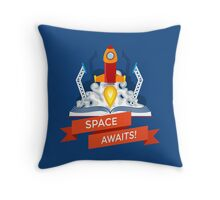 Rocket Launch Illustration Throw Pillow
