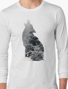 Wolf Silhouette Print Long Sleeve T-Shirt