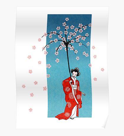Spring Snow Parasol Poster