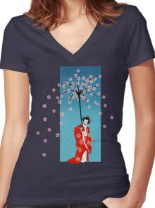 Spring Snow Parasol Women's Fitted V-Neck T-Shirt