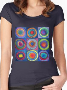 Circles - abstract watercolour Women's Fitted Scoop T-Shirt