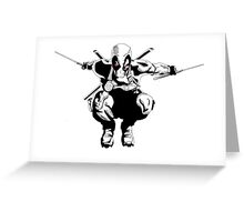 Deadpool Black and white Greeting Card