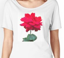 Single red rose flower, isolated on white background Women's Relaxed Fit T-Shirt