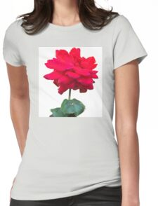 Single red rose flower, isolated on white background Womens Fitted T-Shirt