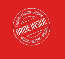 Bride Inside Caution Stamp (Hen Party / White) Womens Fitted T-Shirt
