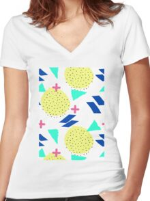 Throwback Abstract 1 Women's Fitted V-Neck T-Shirt