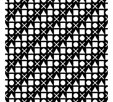 Gamer Pattern Solid White on Black Photographic Print