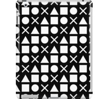 Gamer Pattern Solid White on Black iPad Case/Skin