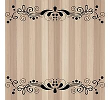 Blond Wood Texture Planks With Black Swirly Lace Photographic Print