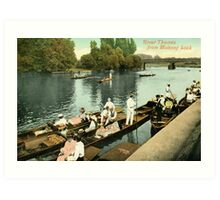 British rowing history, 1890s River Thames from Molesey Lock Art Print