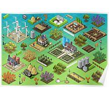 Farm-Tiles-02-Building-Isometric Poster