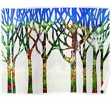 Watercolor Splashes Forest Silhouette Summer Poster