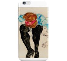 Egon Schiele - Blond Girl, Leaning forward with Black Stockings 1912 iPhone Case/Skin