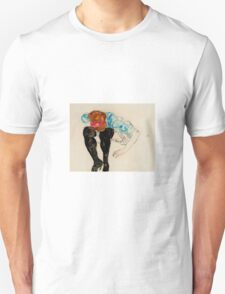 Egon Schiele - Blond Girl, Leaning forward with Black Stockings 1912 Unisex T-Shirt