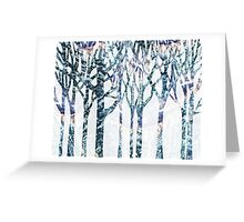 Watercolor Splashes Forest Silhouette Winter Greeting Card