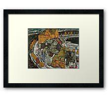 Egon Schiele - Crescent of Houses II Island Town 1915 Egon Schiele   Landscape Framed Print