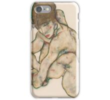 Egon Schiele - Crouching Nude Girl 1914  Egon Schiele  Woman Portrait iPhone Case/Skin