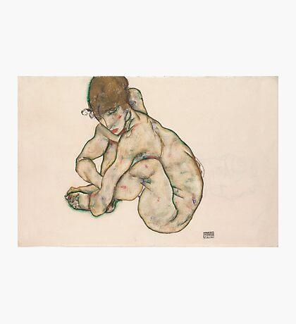 Egon Schiele - Crouching Nude Girl 1914  Egon Schiele  Woman Portrait Photographic Print