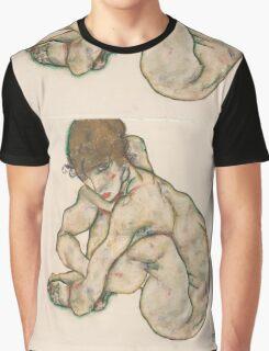 Egon Schiele - Crouching Nude Girl 1914  Egon Schiele  Woman Portrait Graphic T-Shirt