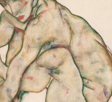 Egon Schiele - Crouching Nude Girl 1914  Egon Schiele  Woman Portrait Sticker