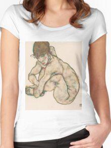 Egon Schiele - Crouching Nude Girl 1914  Egon Schiele  Woman Portrait Women's Fitted Scoop T-Shirt