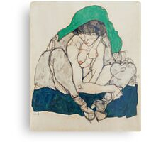Egon Schiele - Crouching Woman with Green Headscarf 1914  Fashion Sexy  Woman Metal Print