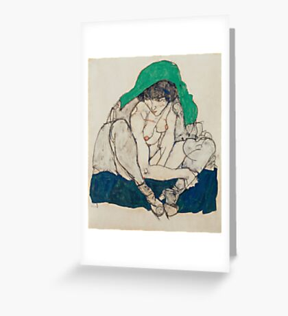 Egon Schiele - Crouching Woman with Green Headscarf 1914  Fashion Sexy  Woman Greeting Card