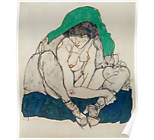 Egon Schiele - Crouching Woman with Green Headscarf 1914  Fashion Sexy  Woman Poster