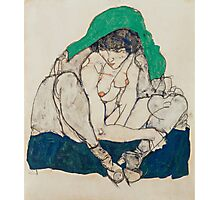 Egon Schiele - Crouching Woman with Green Headscarf 1914 Photographic Print