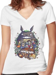 My Neighbor: King of the Forest Women's Fitted V-Neck T-Shirt