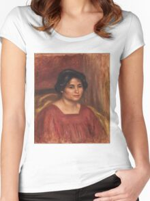 Auguste Renoir - Gabrielle in a Red Dress 1908 ,Woman Portrait , Auguste Renoir Women's Fitted Scoop T-Shirt