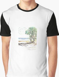Tranquil Sandy Beach Graphic T-Shirt