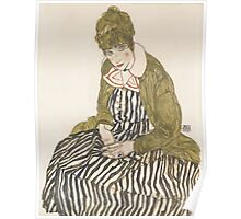 Egon Schiele - Edith with Striped Dress, Sitting 1915 Poster
