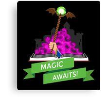 Fantasy Book with Magic Staff Canvas Print