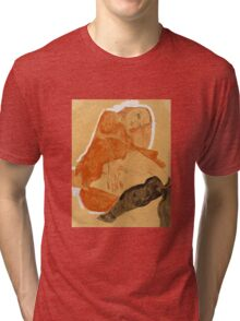 Egon Schiele - Girl in Red Robe and Black Stockings 1911  Egon Schiele  Woman Portrait Tri-blend T-Shirt