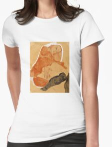 Egon Schiele - Girl in Red Robe and Black Stockings 1911  Egon Schiele  Woman Portrait Womens Fitted T-Shirt