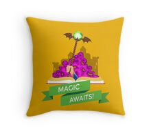 Fantasy Book with Magic Staff Throw Pillow