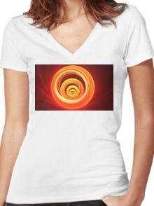 Orange Marble Women's Fitted V-Neck T-Shirt