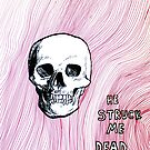 he struck me dead - red ink drawing by Kari Sutyla