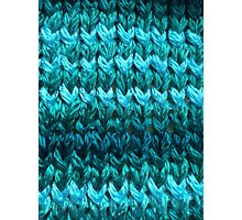 Teal Knit Pattern Photographic Print