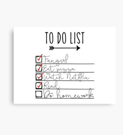 To Do List - Procrastinating Fangirl Canvas Print