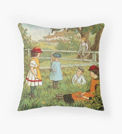 Victorian summer, children playing in the grass Throw Pillow