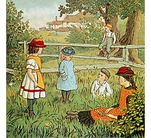 Victorian summer, children playing in the grass Photographic Print