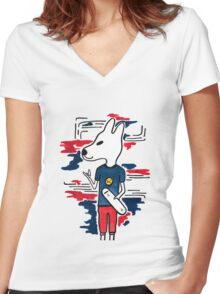 Skater Dog Women's Fitted V-Neck T-Shirt