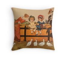 Victorian woman children ducks Kate Greenaway Throw Pillow