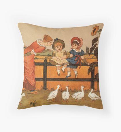 Victorian woman children ducks Kate Greenaway Throw Pillow