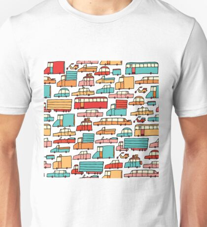 Cartoon seamless car pattern Unisex T-Shirt