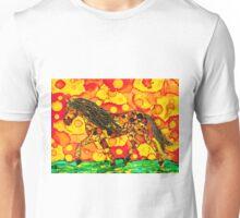 Brown Horse on Yellow & Orange Background Unisex T-Shirt